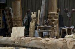 格兰维尔海岛木雕刻的车间 库存照片