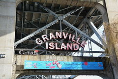 格兰维尔海岛霓虹入口标志 库存图片