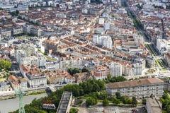 格勒诺布尔老镇,法国鸟瞰图  免版税库存照片