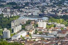 格勒诺布尔老镇,法国鸟瞰图  库存图片