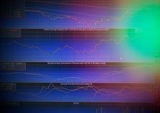 价格和股票显示图表在LED屏幕上 库存照片