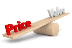 价格和价值平衡概念 免版税库存图片