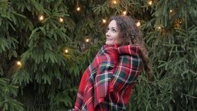 格子花呢披肩的少妇反对圣诞树背景和诗歌选 免版税图库摄影
