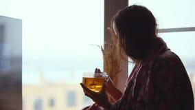 格子花呢披肩的沮丧的哀伤的妇女坐一窗口基石饮用的茶和周道看在窗口 1920x1080 影视素材