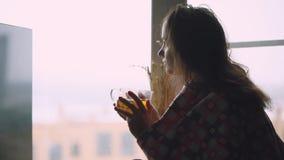 格子花呢披肩的沮丧的哀伤的病的妇女坐一窗口基石饮用的茶和周道看在窗口 1920x1080 影视素材