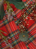 格子花呢披肩红色苏格兰人 免版税库存照片