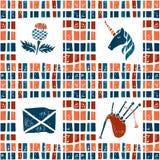 格子花呢披肩织品无缝的样式,苏格兰人集合 图库摄影