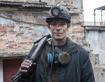 格尔洛夫卡,乌克兰- 2014年2月26日:矿工矿名为加里宁 免版税库存照片