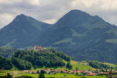 格律耶尔城堡,瑞士 免版税库存照片