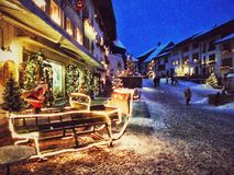 格律耶尔村庄,瑞士 免版税图库摄影