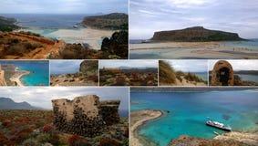 格拉姆武萨群岛和Balos海岛的看法的照片的选择在拼贴画收集了 多云,但是明亮的春天天气 免版税图库摄影