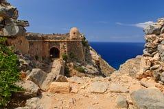 格拉姆武萨群岛海岛的,克利特,希腊威尼斯式堡垒 免版税图库摄影