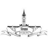格拉斯哥大学,英国 刻痕城市标签 库存照片