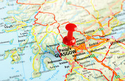 格拉斯哥苏格兰;大英国地图 免版税库存照片