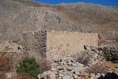 格拉村庄,蒂洛斯岛海岛 免版税库存图片