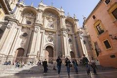 格拉纳达大教堂主要门面从Pasiegas广场, Renais的 免版税库存图片