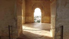 格拉纳达,安达卢西亚,西班牙- 2016年4月17日:阿尔罕布拉宫历史建筑结构 影视素材