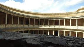 格拉纳达,安达卢西亚,西班牙- 2016年4月17日:阿尔罕布拉宫,查理五世宫殿  股票录像