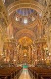 格拉纳达-巴洛克式的大教堂圣胡安与壁画的de Dios教堂中殿地亚哥桑切斯萨拉维亚 免版税库存照片