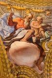 格拉纳达-圣马修壁画福音传教士在教会莫纳斯特里奥de由安东尼奥巴洛米诺马的la Cartuja里(及早18 分 ) 图库摄影