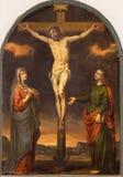 格拉纳达-在十字架上钉死油漆在教会莫纳斯特里奥de圣Jeronimo里由未知的艺术家17 分 免版税图库摄影