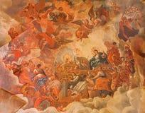 格拉纳达-天花板壁画显示上帝羊羔荣耀大教堂的圣胡安de Dios 库存图片