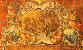 格拉纳达-诞生的巴洛克式的油漆在天使中的在大教堂圣胡安de Dios 库存图片