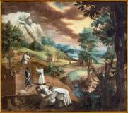 格拉纳达-绘画ast Carthusians修造第一个修道院在莫纳斯特里奥de la Cartuja 免版税库存图片