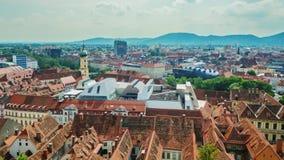 格拉茨美丽如画的镇在奥地利 城市的历史部分的顶视图 徒升录影 股票录像