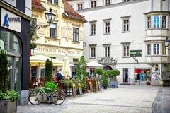 格拉茨,奥地利街道视图  免版税库存图片