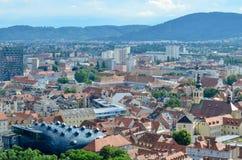格拉茨-奥地利的鸟瞰图 图库摄影