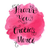 格拉西亚斯, Merci和感谢您递在抽象水彩背景的书面字法 库存例证