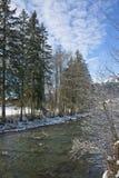 格斯塔德风景在瑞士,有雪的在冬天 免版税库存照片