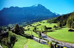 格林德瓦村庄庄严风景,有旅行在绿色象草的小山的一列高山火车的看法 库存图片