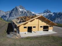 格林德瓦,瑞士- 2009年8月31日:建立房子屋顶结构的建筑工人在建造场所,瑞士 免版税库存图片