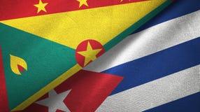 格林纳达和古巴两旗子纺织品布料,织品纹理 向量例证