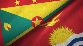 格林纳达和基里巴斯两旗子纺织品布料,织品纹理 库存例证