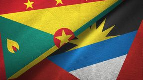 格林纳达和安提瓜和巴布达两旗子纺织品布料,织品纹理 向量例证
