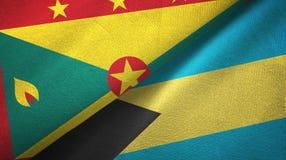 格林纳达和巴哈马两旗子纺织品布料,织品纹理 库存例证