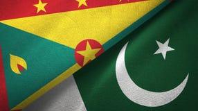 格林纳达和巴基斯坦两旗子纺织品布料,织品纹理 向量例证