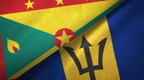 格林纳达和巴巴多斯两旗子纺织品布料,织品纹理 向量例证