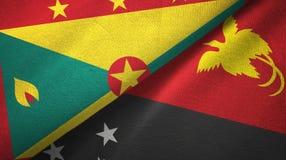 格林纳达和巴布亚新几内亚两旗子纺织品布料,织品纹理 库存例证