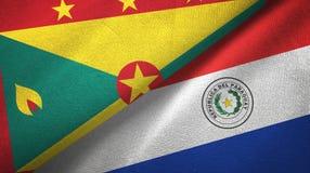 格林纳达和巴拉圭两旗子纺织品布料,织品纹理 向量例证