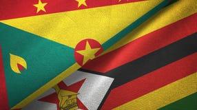 格林纳达和津巴布韦两旗子纺织品布料,织品纹理 向量例证