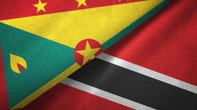 格林纳达和特立尼达和多巴哥两旗子纺织品布料,织品纹理 库存例证