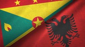 格林纳达和阿尔巴尼亚两旗子纺织品布料,织品纹理 向量例证