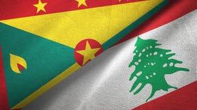 格林纳达和黎巴嫩两旗子纺织品布料,织品纹理 库存例证