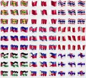 格林纳达,巴林,泰国,海地,北部的韩国,秘鲁,巴勒斯坦,菲律宾,荷属安的列斯 大套81面旗子 皇族释放例证