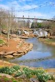 格林维尔SC自由桥梁秋天公园细长的河 库存照片