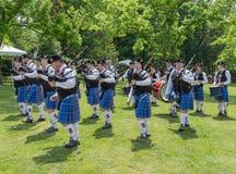格林维尔SC苏格兰比赛风笛带 免版税图库摄影